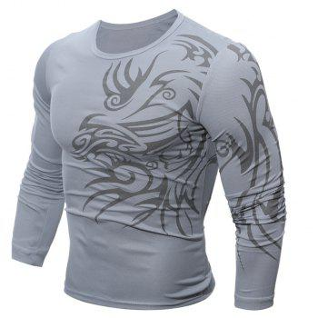 Fashion  Men's Dragon Print  Long-sleeved T-shirt - GRAY L