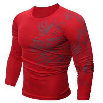 Fashion  Men's Dragon Print  Long-sleeved T-shirt - RED 2XL