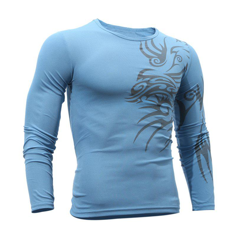Fashion  Men's Dragon Print  Long-sleeved T-shirt - BLUE XL