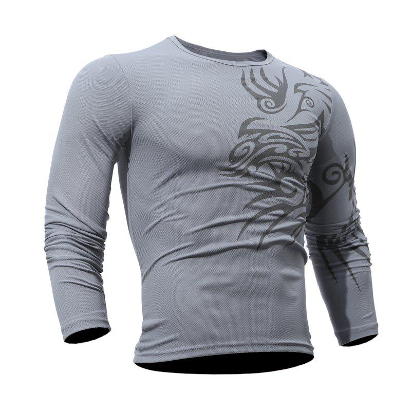Fashion  Men's Dragon Print  Long-sleeved T-shirt - GRAY 3XL