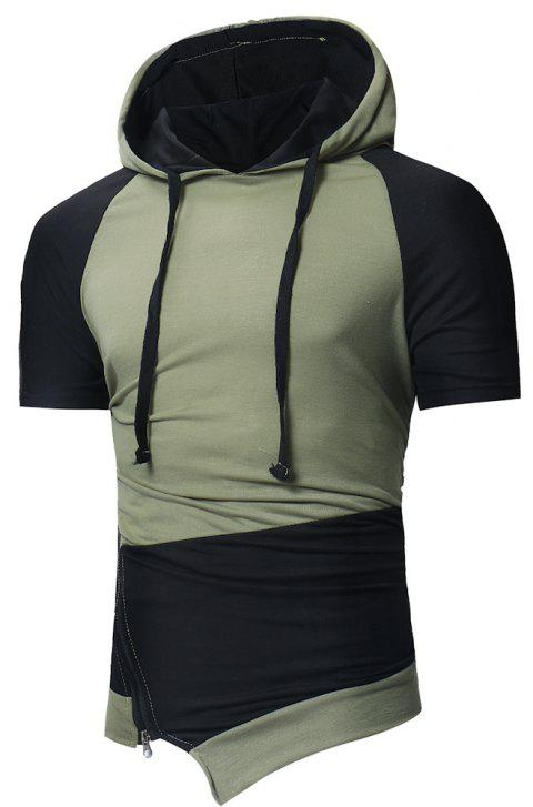 2018 Men's Fashion Colorblock Diagonal Hooded Short Sleeve T-Shirt - GREEN 3XL