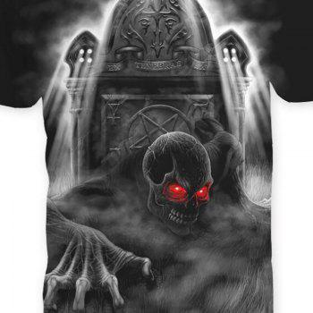 Men's Casual 3D Print Skull Short Sleeves T-shirt - BLACK L