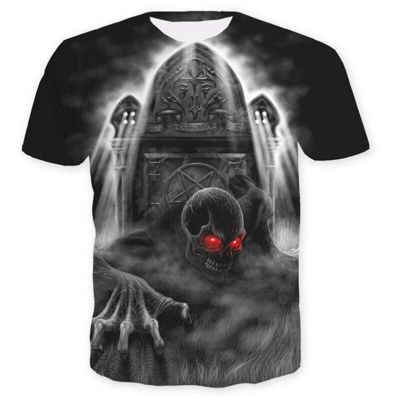 Men's Casual 3D Print Skull Short Sleeves T-shirt - BLACK M