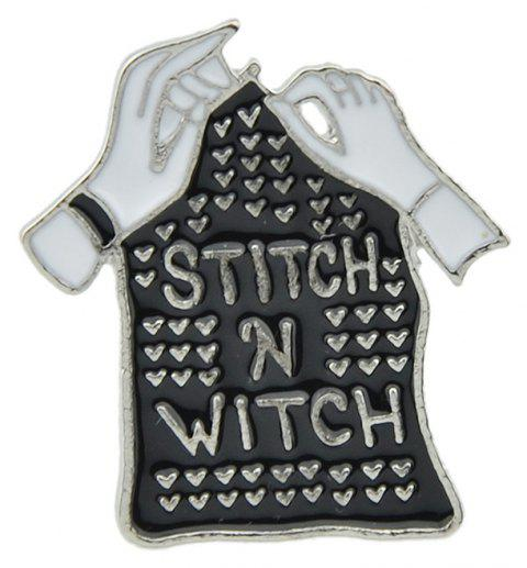 Gothic Punk Enamel Hand Tombstone Shape Cool Brooch - BLACK