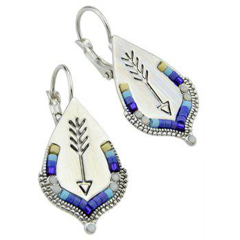 Silver Color with Beads Pattern Geometric Hoop Earrings - SILVER