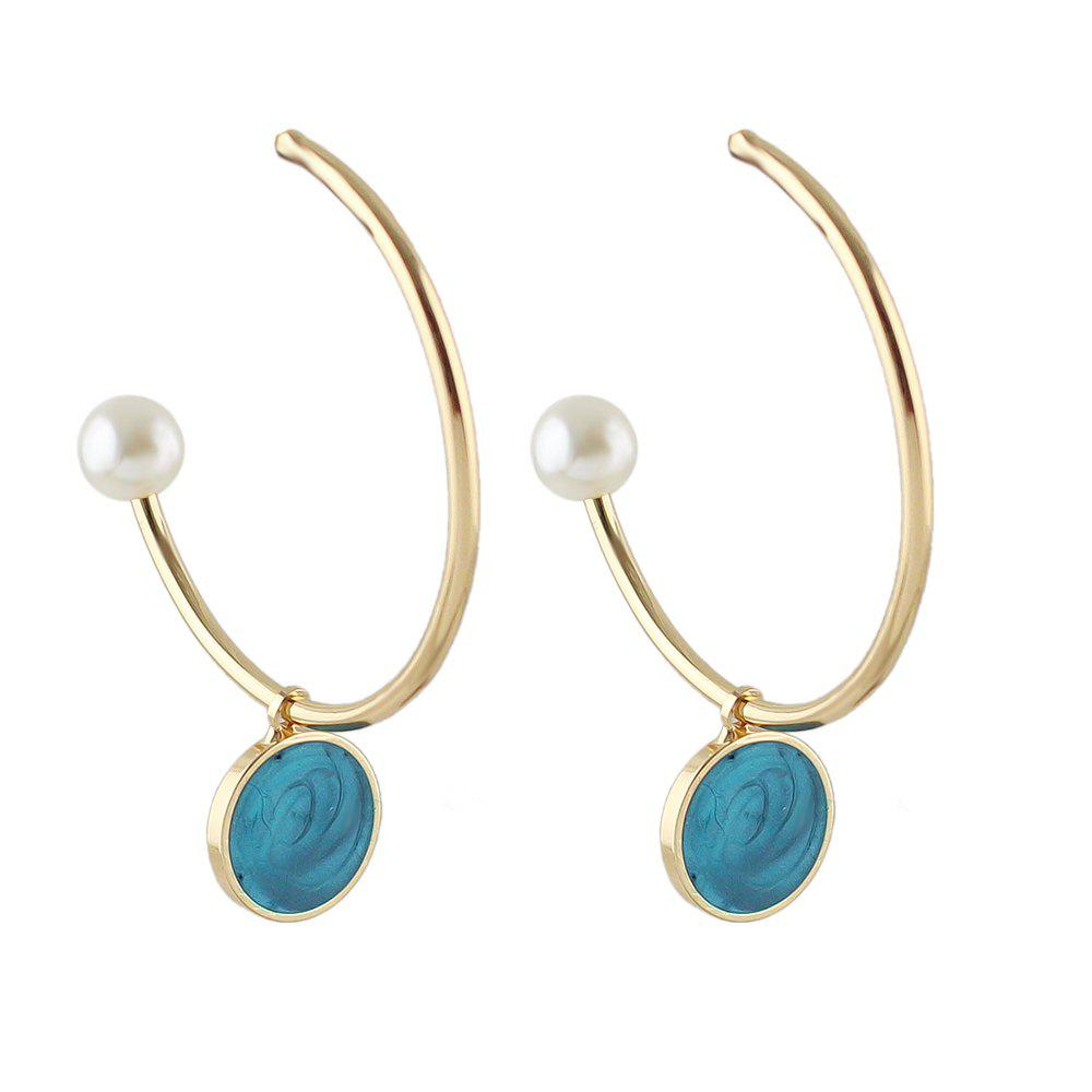 Simulated-pearl Big Cuff Hoop Earrings for Women - TURQUOISE