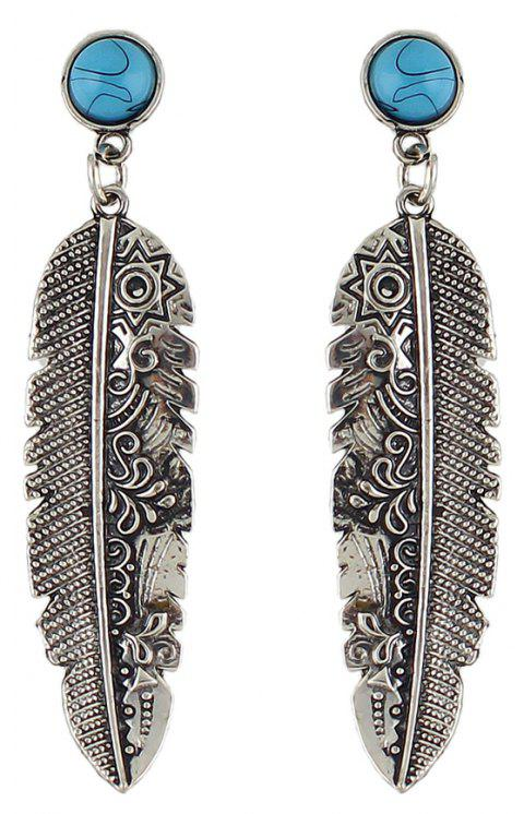 Vintage Fashion Metal Leaf Pendant Earrings - SILVER