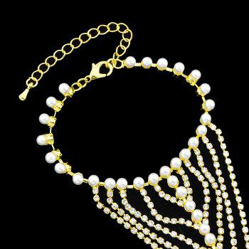 Bracelets with Finger with Simulated-pearl Full Rhinestone Chain - GOLD