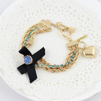 New Bowknot Rhinestone Gold-color Chains Charm Bracelet - GOLD