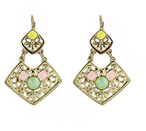 Hollow-out Geometric Pattern with Square Shape Drop Earrings - YELLOW