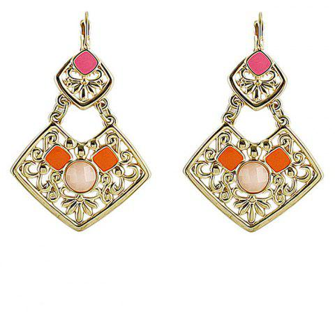 Hollow-out Geometric Pattern with Square Shape Drop Earrings - ROSE RED