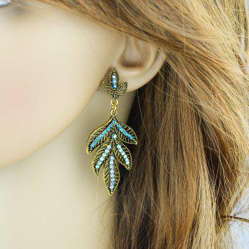 Fashion Style Accessories Hollow-out Leaf Dangle Earrings - ROYAL BLUE