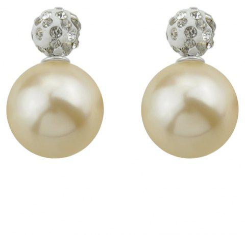 Candy Color Double Sided Simulated-pearl Small Earrings - BEIGE
