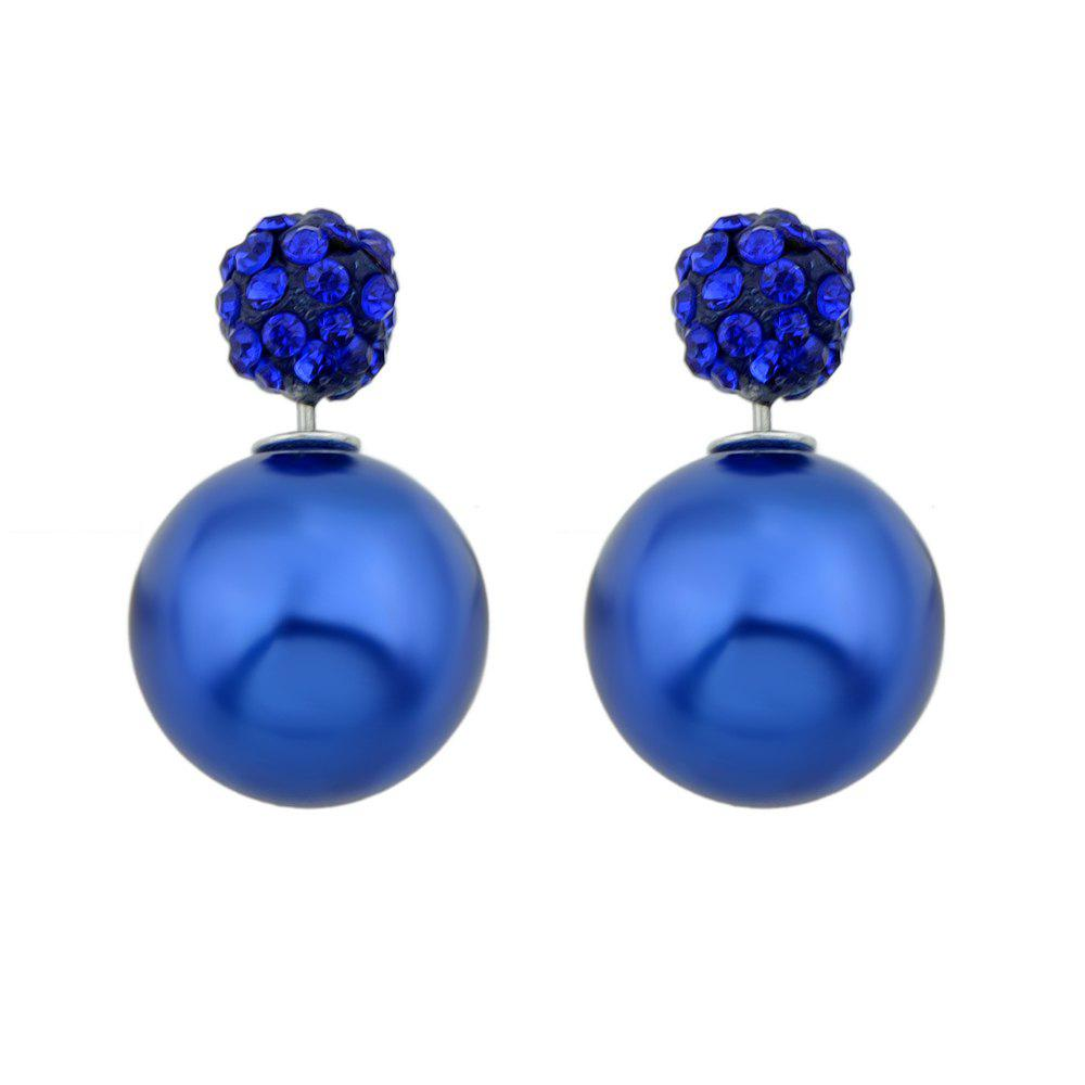Candy Color Double Sided Simulated-pearl Small Earrings - BLUE