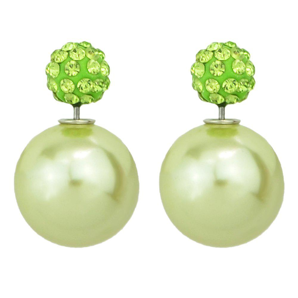 Candy Color Double Sided Simulated-pearl Small Earrings - CHARTREUSE