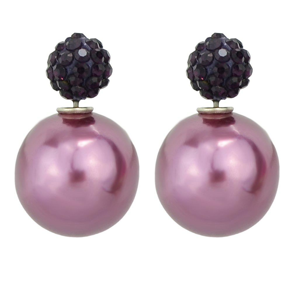 Candy Color Double Sided Simulated-pearl Small Earrings - PURPLE DRAGON