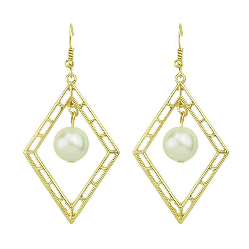 Gold Color Simulated-pearl Geometric Drop Earrings - GOLD