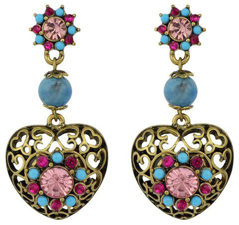 Colorful Rhinestone Hollow-out Heart Earrings - multicolor