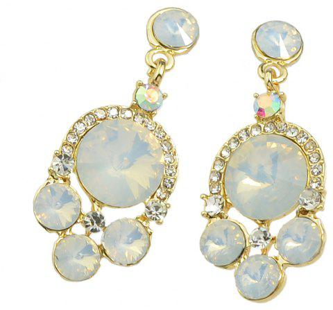 Colorful Rhinestone Geometric Water Drop Earrings - WARM WHITE