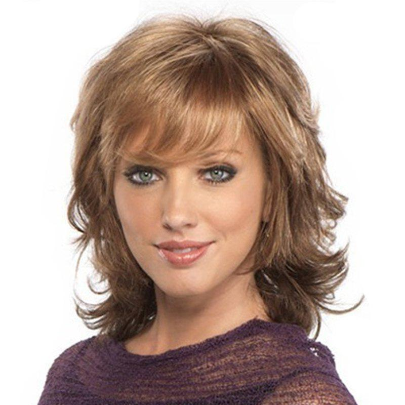 Gold Small Wave Sexy Elegant Medium Short Wig - LIGHT BROWN 18INCH
