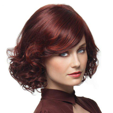 Wine Red Gradient Ramp Small Wave Short Curls Wig - RED WINE 14INCH