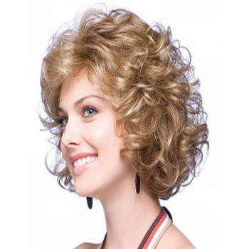 Brown Fluffy Little Curly Short Wig - TAN 14INCH