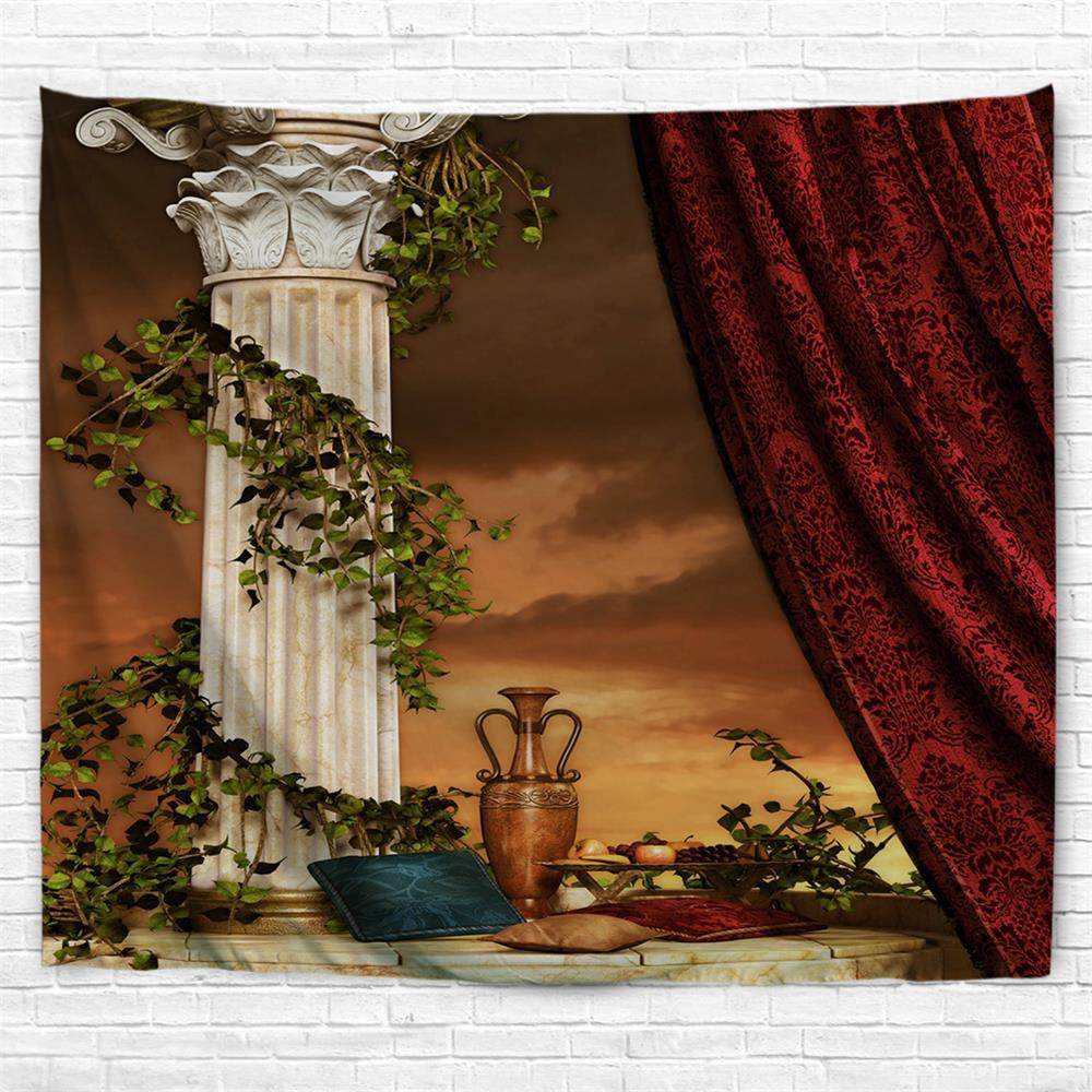 Curtain Pillar Pillow 3D Printing Home Wall Hanging Tapestry for Decoration - multicolor W153CMXL130CM