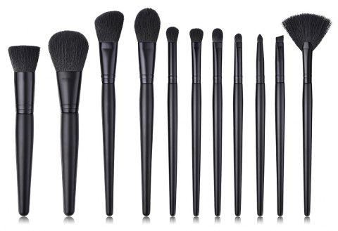 Branches Wooden Handle Black Wool Small Fan Make Up Brush 14pcs - BLACK