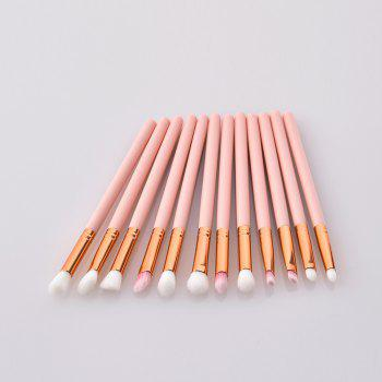 Pvc-12 Wooden Handle Pink High End Eye Brush 12pcs - PINK