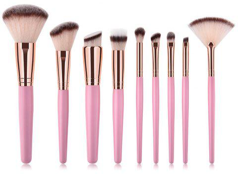 Branches Pink Purple Rose Tube High End Make Up Brush 9pcs - PINK