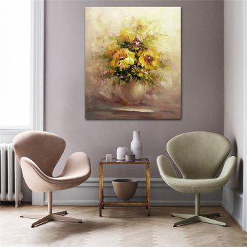 STYLEDECOR Modern Hand Painted Abstract Yellow Chrysanthemum Oil Painting Canvas - multicolor 24 X 28 INCH (60CM X 70CM)