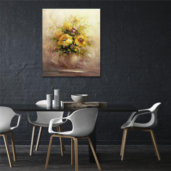 STYLEDECOR Modern Hand Painted Abstract Yellow Chrysanthemum Oil Painting Canvas - multicolor 32 X 36 INCH (80CM X 90CM)