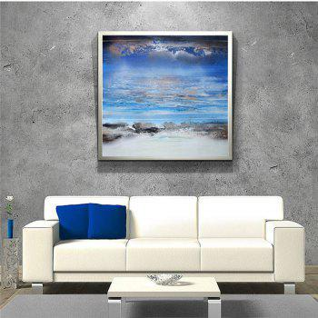 STYLEDECOR Modern Hand Painted Abstract Blue Sky White Cloud Canvas - multicolor 24 X 24 INCH (60CM X 60CM)