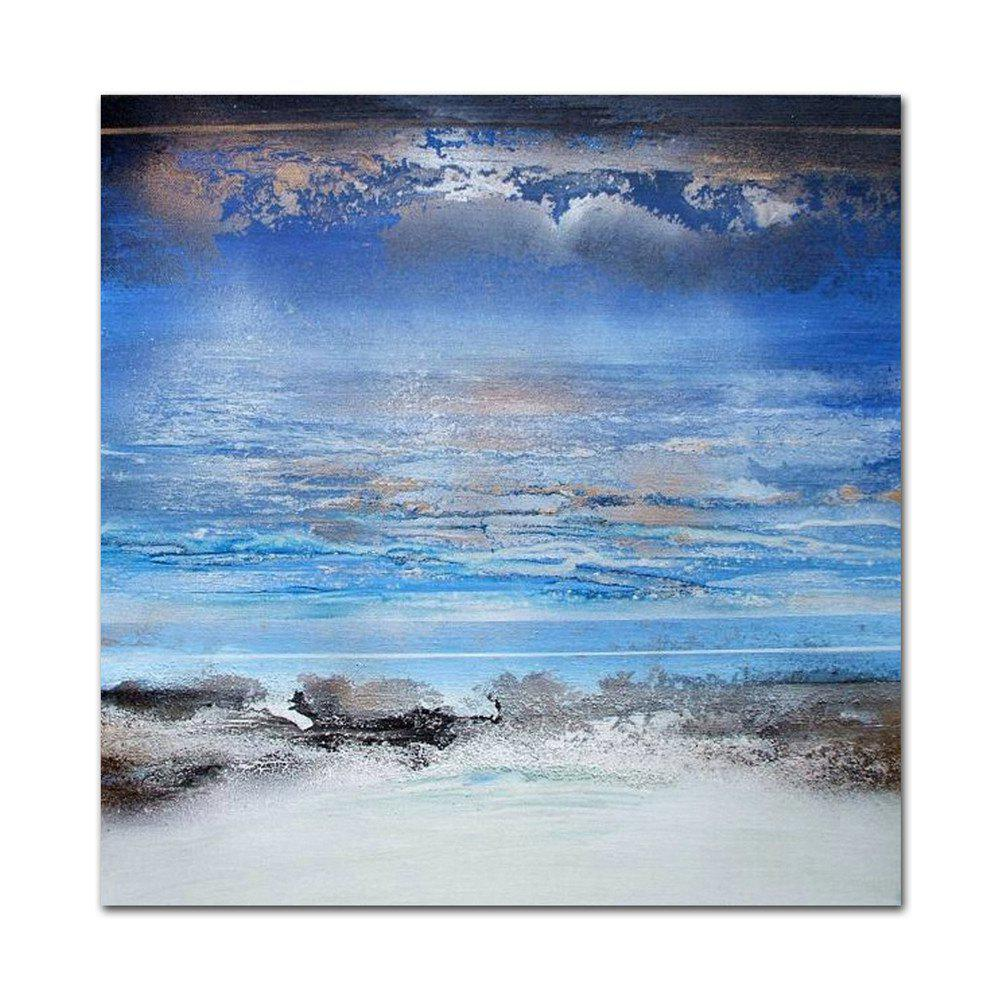 STYLEDECOR Modern Hand Painted Abstract Blue Sky White Cloud Canvas - multicolor 31 X 31 INCH (80CM X 80CM)