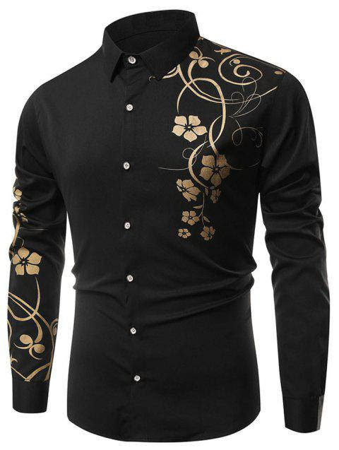 Men's   Autumn Long Sleeve Large Size Casual Print Shirt - BLACK L