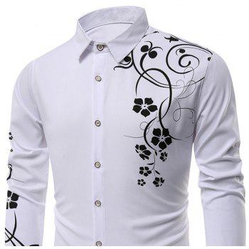 Men's   Autumn Long Sleeve Large Size Casual Print Shirt - WHITE M