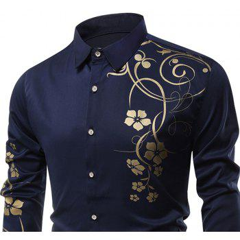 Men's   Autumn Long Sleeve Large Size Casual Print Shirt - BLUE M