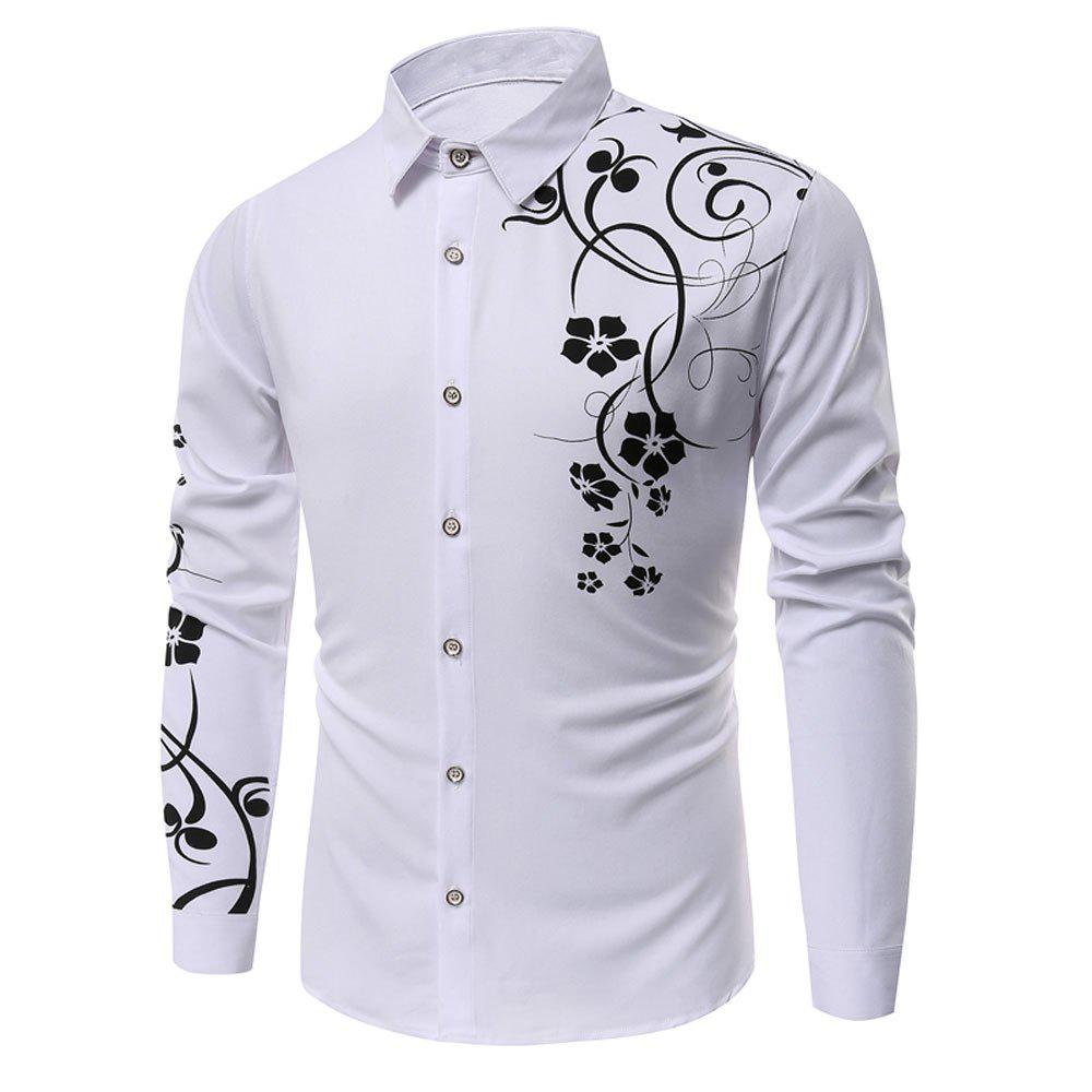 Men's   Autumn Long Sleeve Large Size Casual Print Shirt - WHITE S