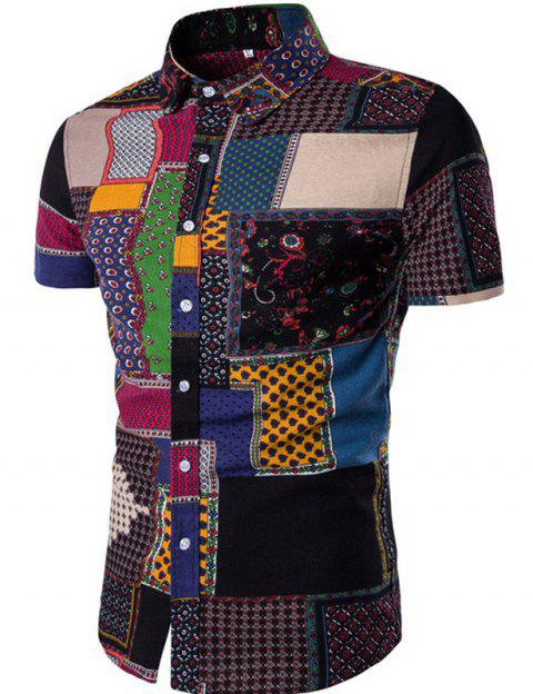 New Men's Short Sleeves Printed Patchwork Shirts - BLACK XS