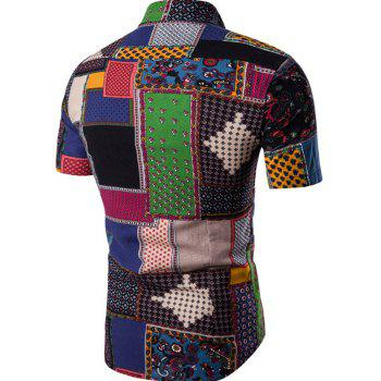 New Men's Short Sleeves Printed Patchwork Shirts - BLACK XL