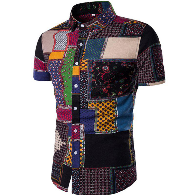 New Men's Short Sleeves Printed Patchwork Shirts - BLACK 2XL
