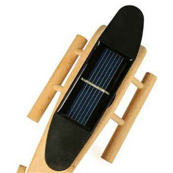 Solar Powered Creative Air Plane Helicopter Wooden Model Toy Gift - WARM WHITE
