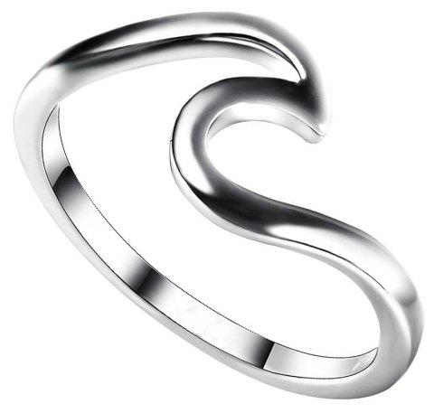 Simple Dainty Silver Plating Thin Wave Anneau Bijoux - Argent US SIZE 10