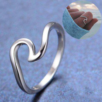 Simple Dainty Silver Plating Thin Wave Ring Jewelry - SILVER US SIZE 7