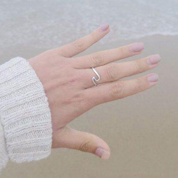 Simple Dainty Silver Plating Thin Wave Ring Jewelry - SILVER US SIZE 10