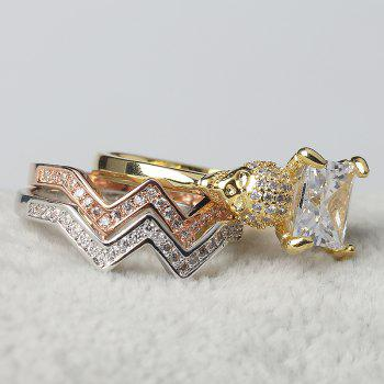 Woman Crystal Zircon Fashion Jewelry Punk Skull Rings - GOLD US SIZE 9