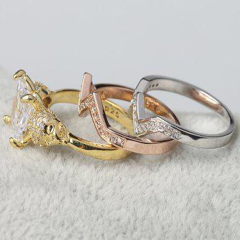 Woman Crystal Zircon Fashion Jewelry Punk Skull Rings - GOLD US SIZE 10