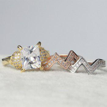 Woman Crystal Zircon Fashion Jewelry Punk Skull Rings - GOLD US SIZE 11