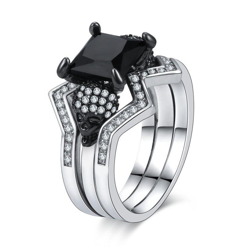 Woman Crystal Zircon Fashion Jewelry Punk Skull Rings - BLACK US SIZE 6