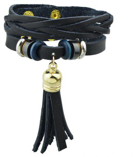 Punk Rock Style PU Leather Warp Bracelets - BLACK